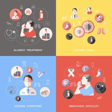 Astma concept met arts en patiënt de symptomen van de ziekte ademhalingsmoeilijkheden allergie behandeling geïsoleerd vector illustratie