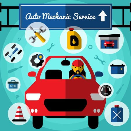 replacing: Auto mechanical service decorative icons set with car driver fuel garage toolbox chassis tires speedometer vector illustration Illustration