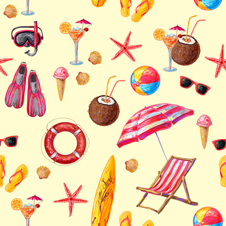 beach wrap: Objects for beach and sport pattern with surfboard lounge lifebuoy beverages  sunglasses on beige background vector illustration