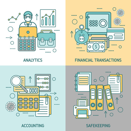 transactions: Finances and accounting concept with analytics business transactions archives and briefcase computer printer magnifier isolated vector illustration