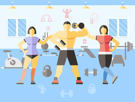 carry out: Bodybuilder narciss girls poster women and man in gym carry out training or workout vector illustration Illustration