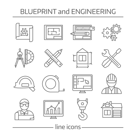 schemes: Blueprint and engineering linear icons set with gears computer programs crane tools drafts schemes isolated vector illustration