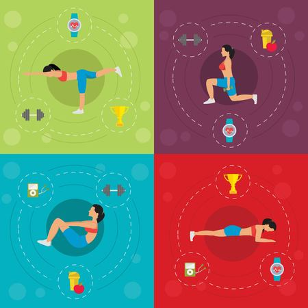 squat: Workout for active woman concept with push-up squat stretching diet dumbbells cardio watch isolated vector illustration Illustration