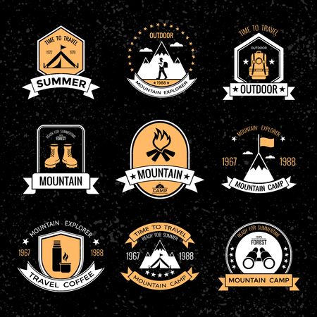 mountaineering: Mountaineering vintage emblems on black background with grey small spots with tools for climbing isolated vector illustration