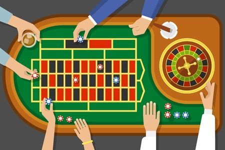 wagers: Game of roulette top view with female and male hands cigar chips on playing field vector illustration