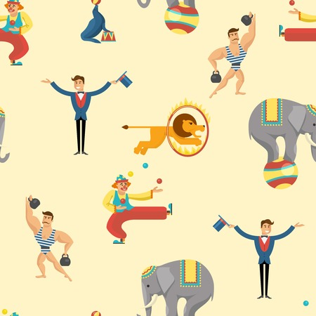 circus artist: Seamless background flat circus pattern with description of animals and circus artist on the scene show tricks vector illustration