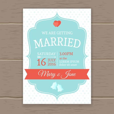 specify: Flat wedding invitation with polka dots blue pattern and space to specify the date place time of the ceremony vector illustration