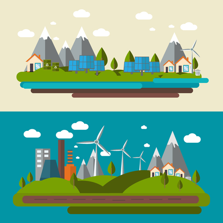 panoramic view: Two flat ecology banner set with a panoramic view of the city towns landscape and power stations vector illustration