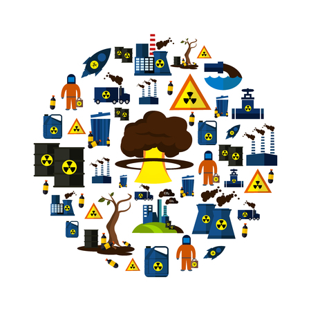 environmental hazard: Environmental Pollution Icon Set combined In big circle with tools of environmental hazard and big bang as mushroom form in the middle vector illustration