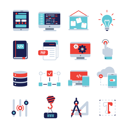 programm: Programm development flat icon set with description of scripts web application development and cloud storage in which the digital data vector illustration
