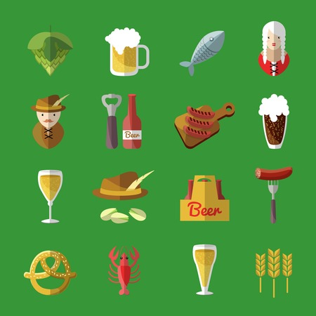 irish pub: Beer icons flat set looks like Irish pub with snacks and drinks from the bar Irish bartender and waitress vector illustration Illustration