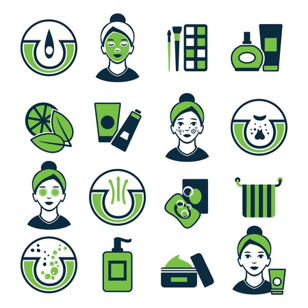 wrinkle: Acne green color icon set with elements of skin care and makeup girl to impose a mask vector illustration