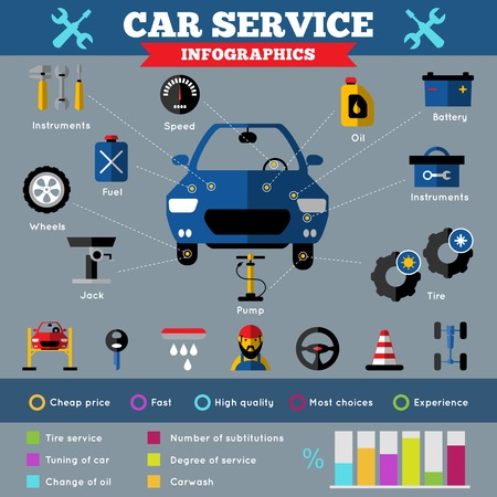 car hoist: Auto service infographics with car in center working tools elements of machine and percent diagrams vector illustration Illustration