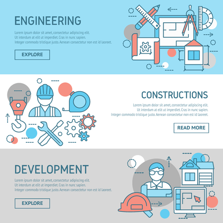 drafts: Engineering and constructions horizontal banners set with worker developer drafts professional instruments computers buildings isolated vector illustration