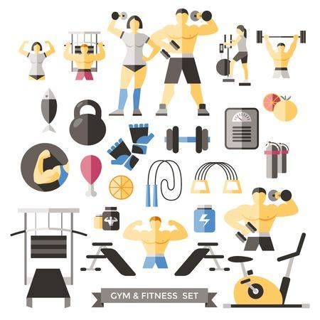 female athletes: Bodybuilding Knolling Icon Set male and female athletes in training and sports equipment vector illustration