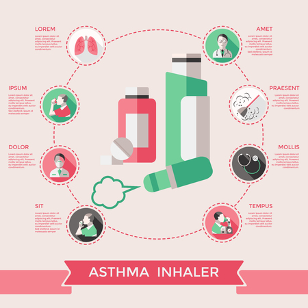 difficulties: Asthma inhaler page of website with lungs bronchial tubes pills dust stethoscope doctor patient vector illustration