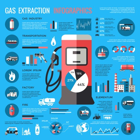 compressed gas: Natural gas extraction infographics with station in center industrial elements statistics diagrams on blue background vector illustration