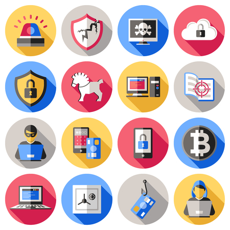 encryption: Internet security flat icons set with computer banking card safe smartphone hacker virus encryption isolated vector illustration