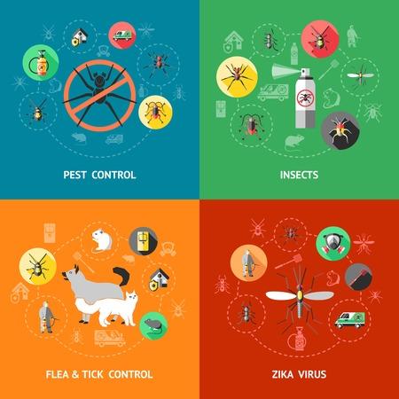 Schädlingsbekämpfung Konzept mit Insektizid gegen Ameisen Kakerlake Moskito Floh Zecken zika Virenschutz isoliert Vektor-Illustration