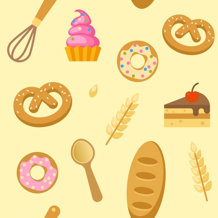 bagels: Bakery flat seamless pattern with donuts bagels piece of cake whisk spoon on beige background vector illustration