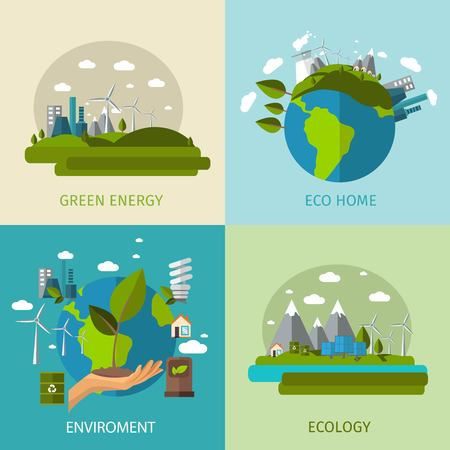 Four square colored ecology flat icon set with descriptions of green energy eco home environment and ecology vector illustration