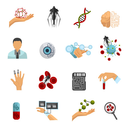 nanotechnology: Nanotechnology sixteen isolated flat colored icon set on medical and scientific themes vector illustration
