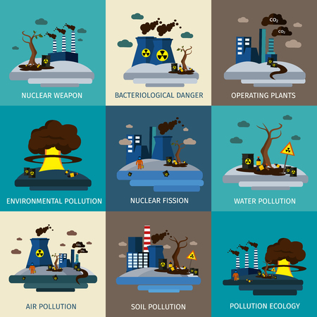 Environmental pollution icon set with descriptions of nuclear weapon bacteriological danger environmental water air soil and ecology pollution vector illustration Çizim