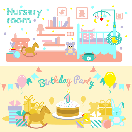 nursery room: Two horizontal baby flat banner set with description of nursery room and first birthday party for child vector illustration