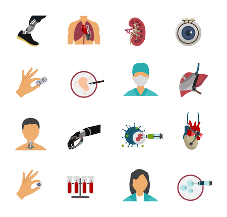 Colored bioengineering isolated icon set with equipments of science laboratory and people who work there vector illustration