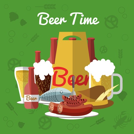 pint: Beer flat composition with description of pint of beer and snacks in center on green background and  with inscription beer time vector illustration Illustration
