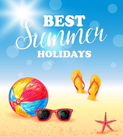 Summer Vacation Poster Illustration