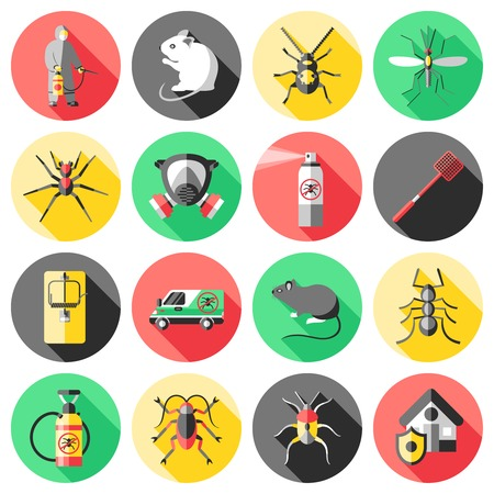 insecticide: Pest control flat icons set with house worker insecticide trap rodent ant mosquito spider isolated vector illustration