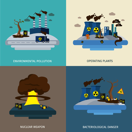 nuclear weapon: Environmental pollution icon set with description of operating plants nuclear weapon and bacteriological danger vector illustration Illustration