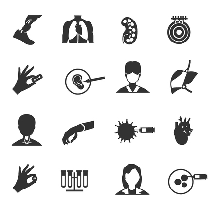Bioengineering black isolated icon set on white background bioregulation cellular processes and the reconstruction of human organs vector illustration