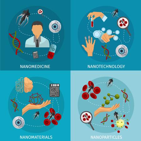 Cuatro nanotecnología conjunto de iconos con las descripciones de los nanomateriales y nanopartículas nanotecnología nanomedicina ilustración vectorial