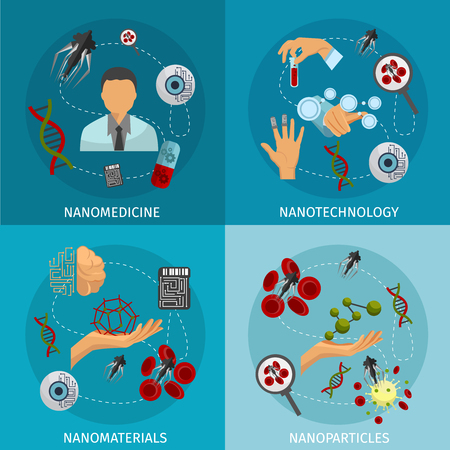 Four nanotechnology icon set with descriptions of nanomedicine nanotechnology nanomaterials and nanoparticles vector illustration Vectores