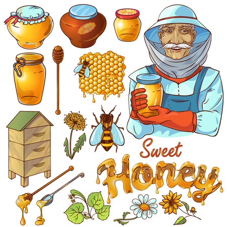 beekeeper: Hand drawn honey icon set with beekeeper bees who make honey and their habitats vector illustration Illustration