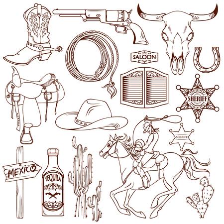 Salvaje icono en blanco y negro al oeste de conjunto con la descripción de las cosas necesarias vaquero y la ilustración vectorial sabor local
