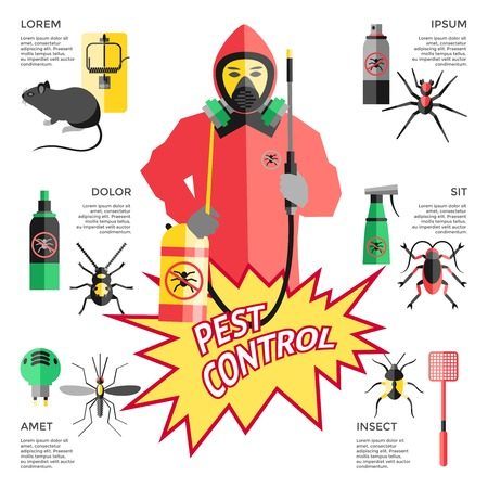 Service for pest control website with worker in protective clothes in center means of destruction vector illustration Illustration