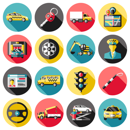 breakdown truck: Driving long shadow icons set with key car washing breakdown truck navigator excavator hoist isolated vector illustration