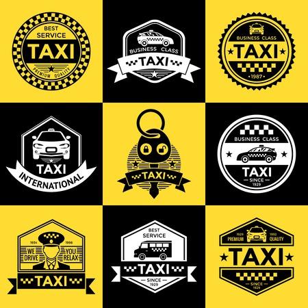 Taxi etiquetas de estilo retro con patrón de tablero de ajedrez conductor vehículo sobre fondos de color amarillo y negro aislado ilustración vectorial Ilustración de vector