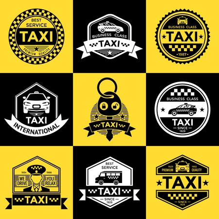 driver license: Taxi retro style labels with driver vehicle checkerboard pattern on yellow and black backgrounds  isolated vector illustration