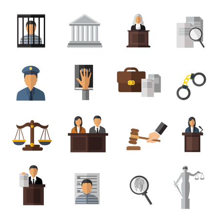 judicial: Judicial system icon set elements of trial the judge in the courtroom and man in jail vector illustration