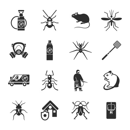 insect control: Pest control black white icons set with insect rodents automobile pesticide protective clothes trap isolated vector illustration