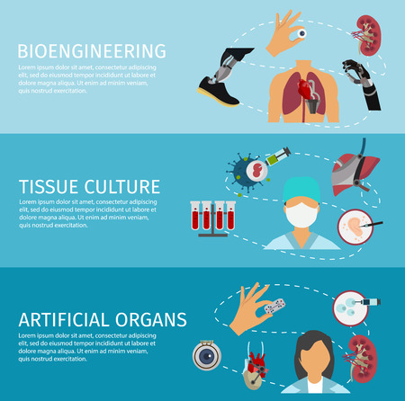 bioengineering: Three horizontal biotechnology banner set with descriptions of Bioengineering tissue culture and artificial organs vector illustration Illustration