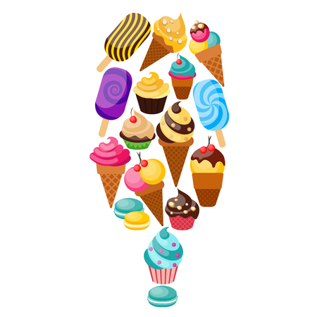 lollies: Sweets cupcakes composition consisting of the icons set with sweets and ice cream collected as a big ice lollies vector illustration