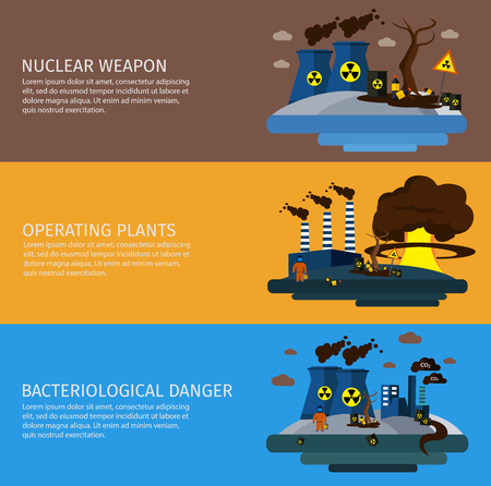 bacteriological: Three horizontal environmental pollution colored banner set with titles of nuclear weapon operating plants bacteriological danger vector illustration Illustration