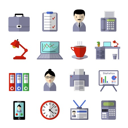 office appliances: Office icon set with working tools appliances and white-collar workers colored and isolated vector illustration Illustration
