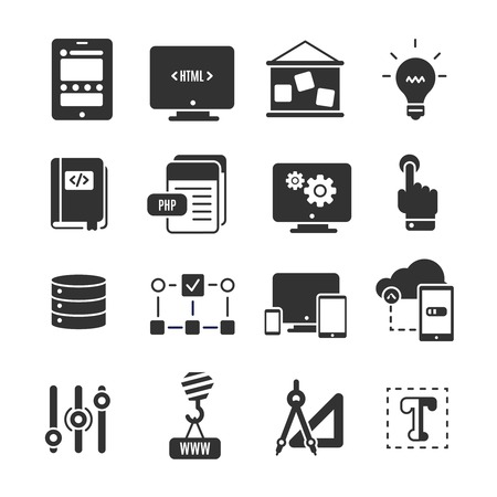 scripting: Black icon set of programm development with elements of technology in web development and scripting vector illustration Illustration