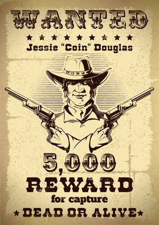 criminals: Vintage wanted poster with description of revard when apprehending criminals and cowboys photo in the middle vector illustration